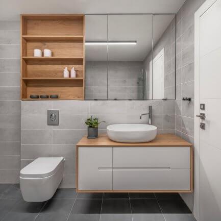 ארון אמבטיה צף - עיצוב אישי מרסלו נגרות